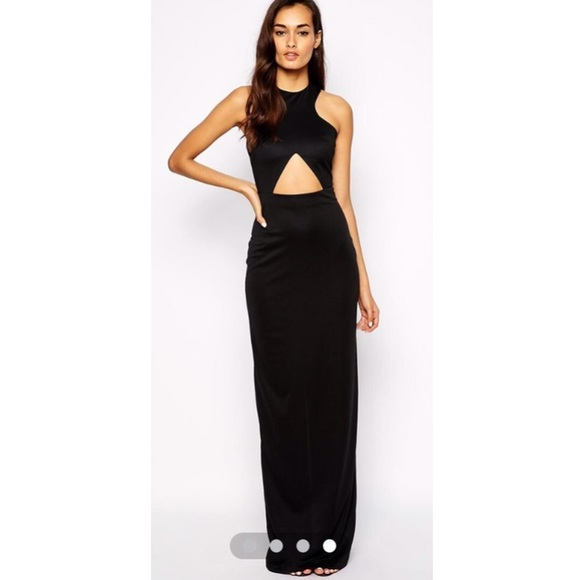 Asos Dresses Aqaq Elegant Black Keyhole Cut Out Long Dress Poshmark