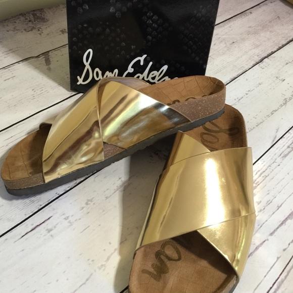 c250852552aa42 FREE SHIPPING Sam Edelman liquid gold sandal