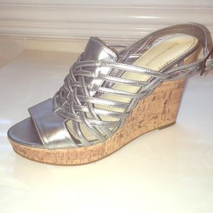 Enzo silver leather wedge
