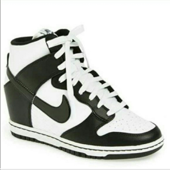 Nike dunk sky hi black white wedge sneakers 6.5