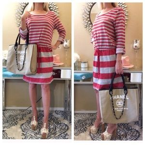 Dresses & Skirts - 🌲Buy 1 Get 1 Free🌲 Grey & Red striped dress•