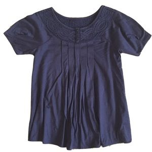 Anthropologie Deletta Navy Top