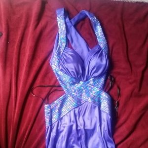 Long purple sequin dress