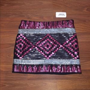 Pink and black mini skirt