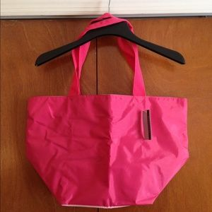 Handbags - Hot Bright Pink Two Tone Large Beach Tote Bag