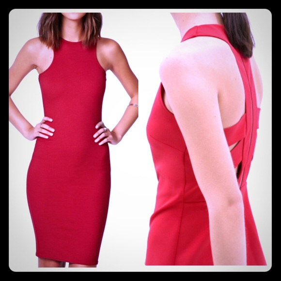 340d3ca1361 NWT red Zara open back zipper midi dress size S