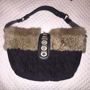 *SALE* COACH bag with big fur trim and leather