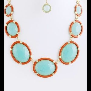 Orange mint gold statement necklace set new