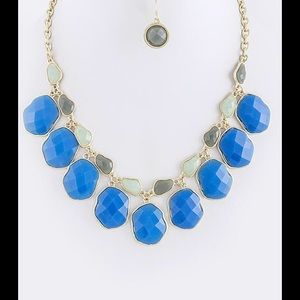 Blue mint gold statement necklace set new