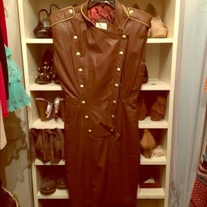 Vintage fitted leather dress!