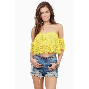 Yellow Lace Off The Shoulder Top *NEW*