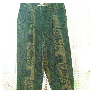 Vintage High Waisted Corduroy Paisley Pants