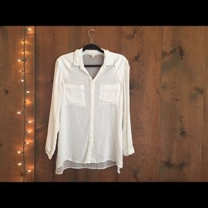 Urban Outfitters White Sheer Back Button Down NWOT