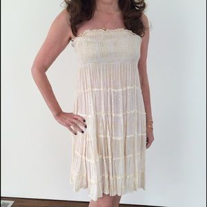 Cool Change Dresses & Skirts - Cool Change Cream/White Strapless Dress/Cover Up
