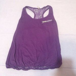 Tops - Purple tank top with lace