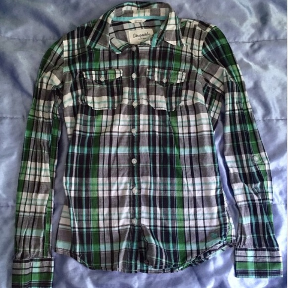 70 off aeropostale tops blue and green plaid shirt from for Blue and green tartan shirt