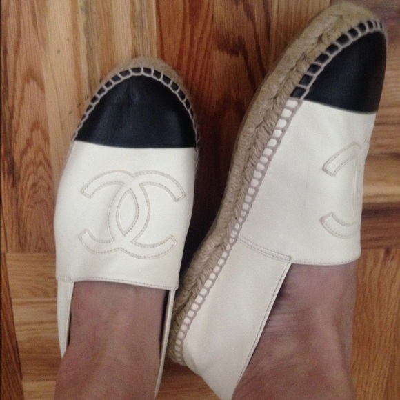 76b2d007810 CHANEL Shoes - Authentic CHANEL Espadrille Black White Lambskin