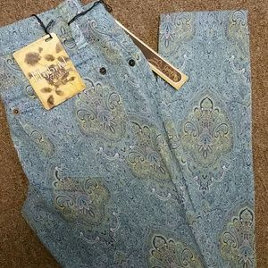 Hybrid Pants - Printed stretchy blue paisley jeggings Sz 1
