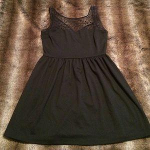 Aqua Black Dress with Sheer Polka Dot Detail