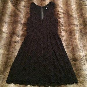 Aqua Lace Black Dress