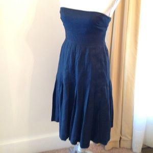 J. Crew Dresses & Skirts - J. Crew Navy Blue Pleated Linen Sleeveless Dress 2