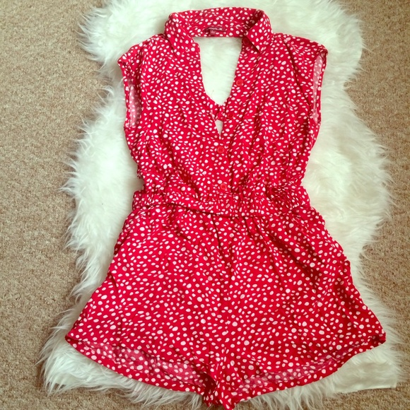 Other - Red & White Polka Dot Open Back Romper Size Large
