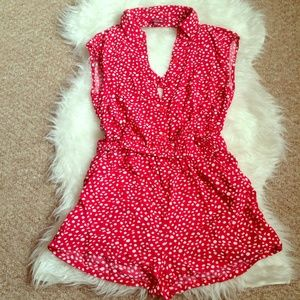 Red & White Polka Dot Open Back Romper Size Large