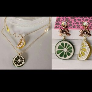 BETSEY JOHNSON.  CITRUS FRUITS EARRINGS NECKLACE