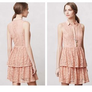 Anthropologie Tiered Lace Shirtdress NWOT