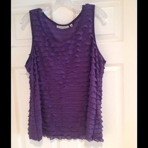 Sejour Tops - Sejour Purple Sleeveless Top with Ruffles