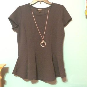 A. Byer Tops - Navy Peplum Shirt