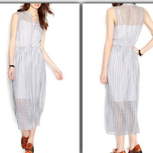 Small black white striped checked maxi midi dress