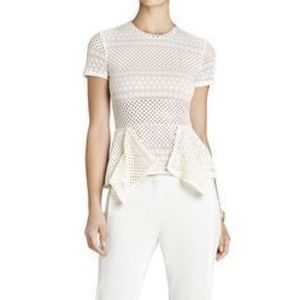 Bcbg peplum top cream color