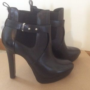 NWT Zara Black Leather Ankle Booties 6.5