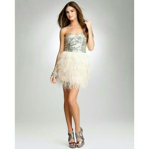 bebe Dresses & Skirts - Bebe Isis Sequin Feather Dress, XXS, NWT