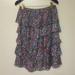 Zara Tops - Zara 💯% silk tiered ruffle floral skirt/dress/top