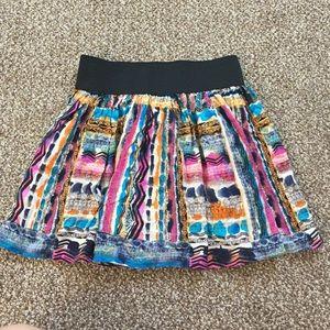 Aztec print high waist banded mini skirt