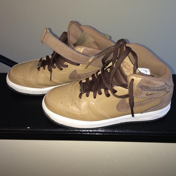 Tan and Brown Nike Air Force Ones