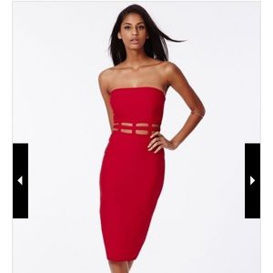 Cage Waist Bandeau Dress (Red)