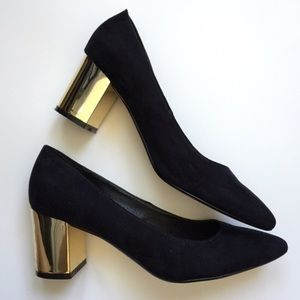 Asos Shoes Black Faux Suede With Gold Block Heels Poshmark