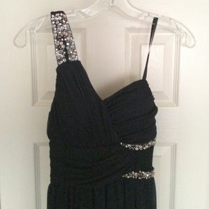 One shoulder, long, navy beaded prom/formal dress