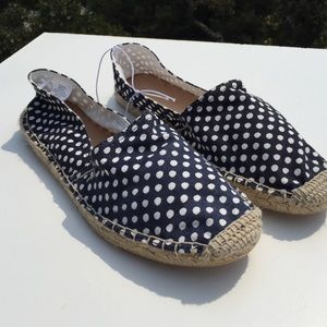 Old Navy Shoes - Blue & White Polka Dot Canvas Espadrilles 9 NWT