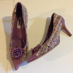 Moschino Purple Suede & Tweed Shoes