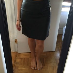 All Saints Dark Green Genuine Leather Skirt