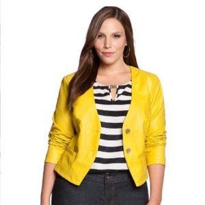 Yellow Faux Leather Blazer by Eloquii Size 14W