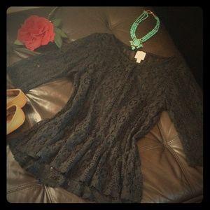 Anthropologie Sheer Black Lace Top