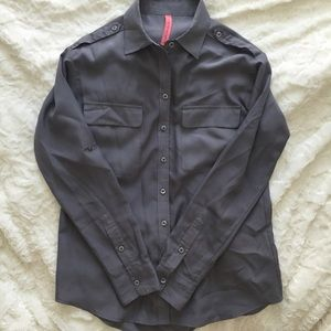 Eight Sixty Tops - Gray Silk-Like button up
