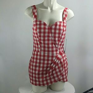 Stop Staring Dresses & Skirts - *NWT red and white checkered  pin up girl