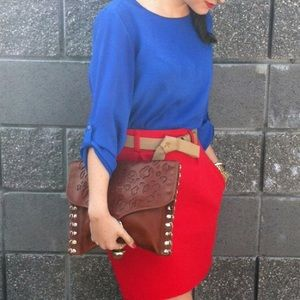 Mango Dresses & Skirts - Red skirt with Camel Belt