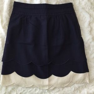 Anthropologie Dresses & Skirts - Navy & Cream Tiered Ruffle Skirt